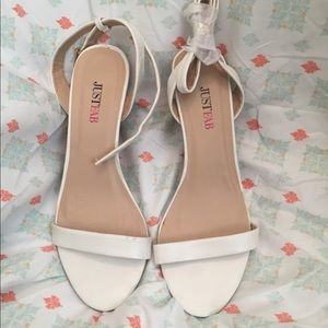 JustFab White Wedge Sandal - Size 6